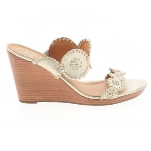 Jack Rogers gold wedge